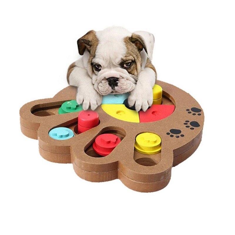 1 Uds perros juguetes huesos huellas de pata de madera divertido alimentación Multi-funcional juguetes interactivos para perros para gatos para mascotas alimentador de educación