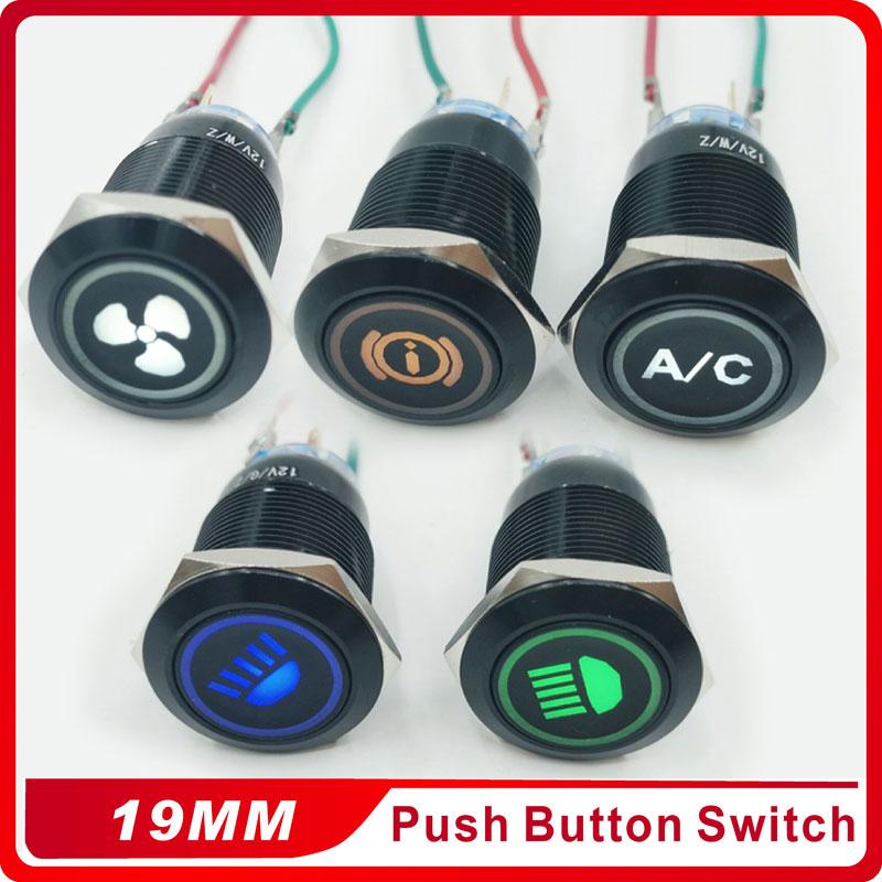 NEW 3V 5V 12V 24V 220V 19mm Self-locking Alumina black push button with LED light push button waterproof press button switch