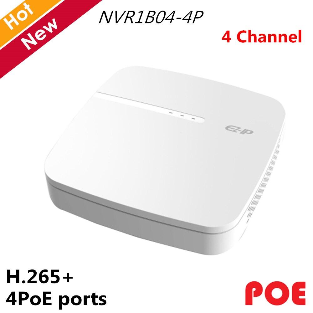 Dahua 4 canales EZ-IP NVR Smart 1U H.265 4 puertos POE grabadora de vídeo en red hasta 8MP de resolución para cámaras EZ-IP sistemas IP