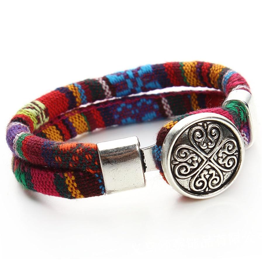 Женский браслет с кнопками Boho, разноцветный хлопковый шнурок, тибетский, серебристый, этнический очаровательный браслет с цветами