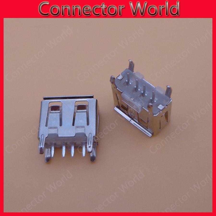 100pcs laptop motherboard micro 2.0 USB 4pin 4 pin DC white  A Type Flat Angle 180 Degree Female PCB Connector Socket Jack Plug