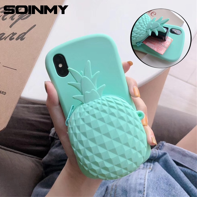 Funda billetera con dibujo de piña para iphone XS XR XS MAX silicona suave 3D Linda funda para el iphone 7 completa 7plus 8 8plus 6 6s plus