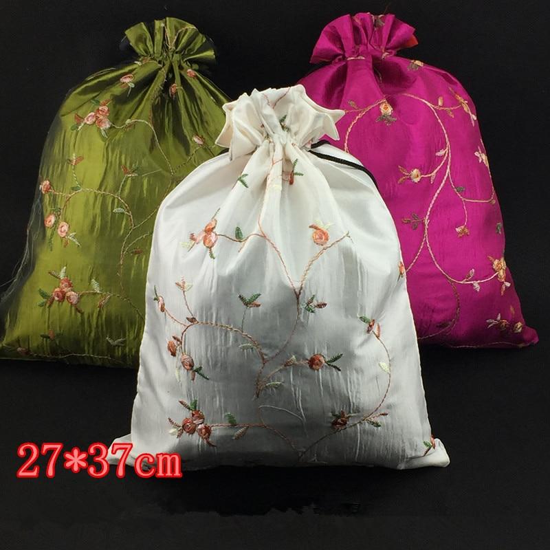 Большой Подарочный пакет с вышивкой фруктов и кулиской, многоразовый чехол для рождественской вечеринки из сатина, 2 размера, 10 шт.