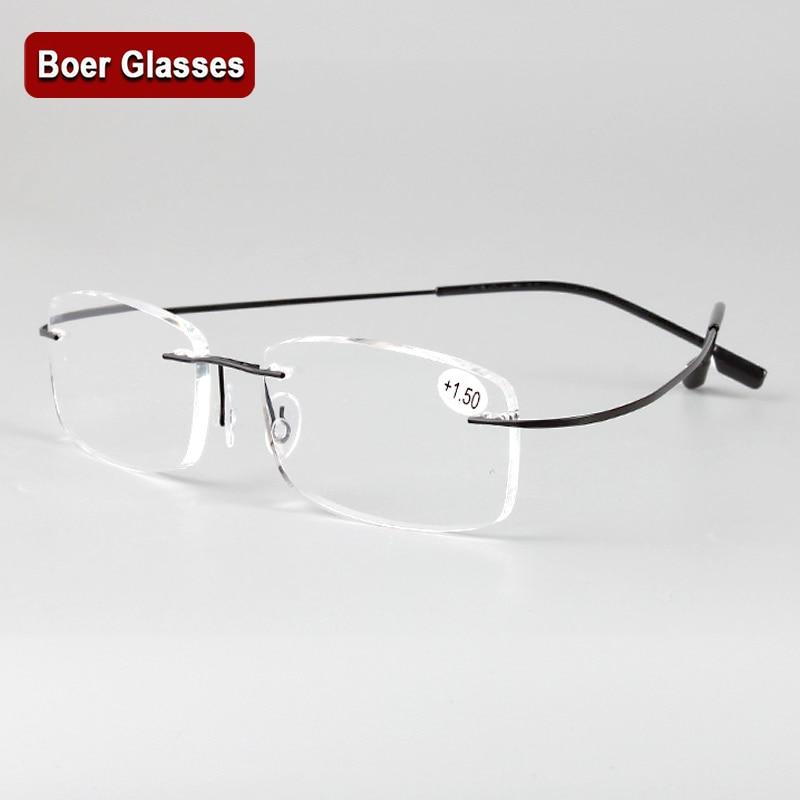 Rimless memory titanium flexible eyeglasses Reading Presbyopic glasses magnifying glasses +1.0 +1.5 +2.0 +2.5 +3.0 +3.5 +4.0