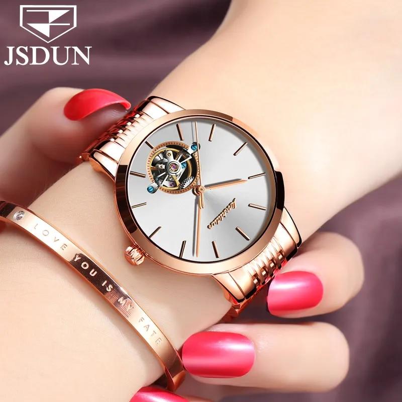 JSDUN – montre mécanique automatique pour femmes, marque de luxe suisse, or Rose, Tourbillon, acier inoxydable, 2018
