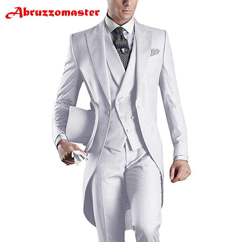 Traje blanco de 3 piezas Abruzzomaster para hombres, traje Formal de negocios para hombre