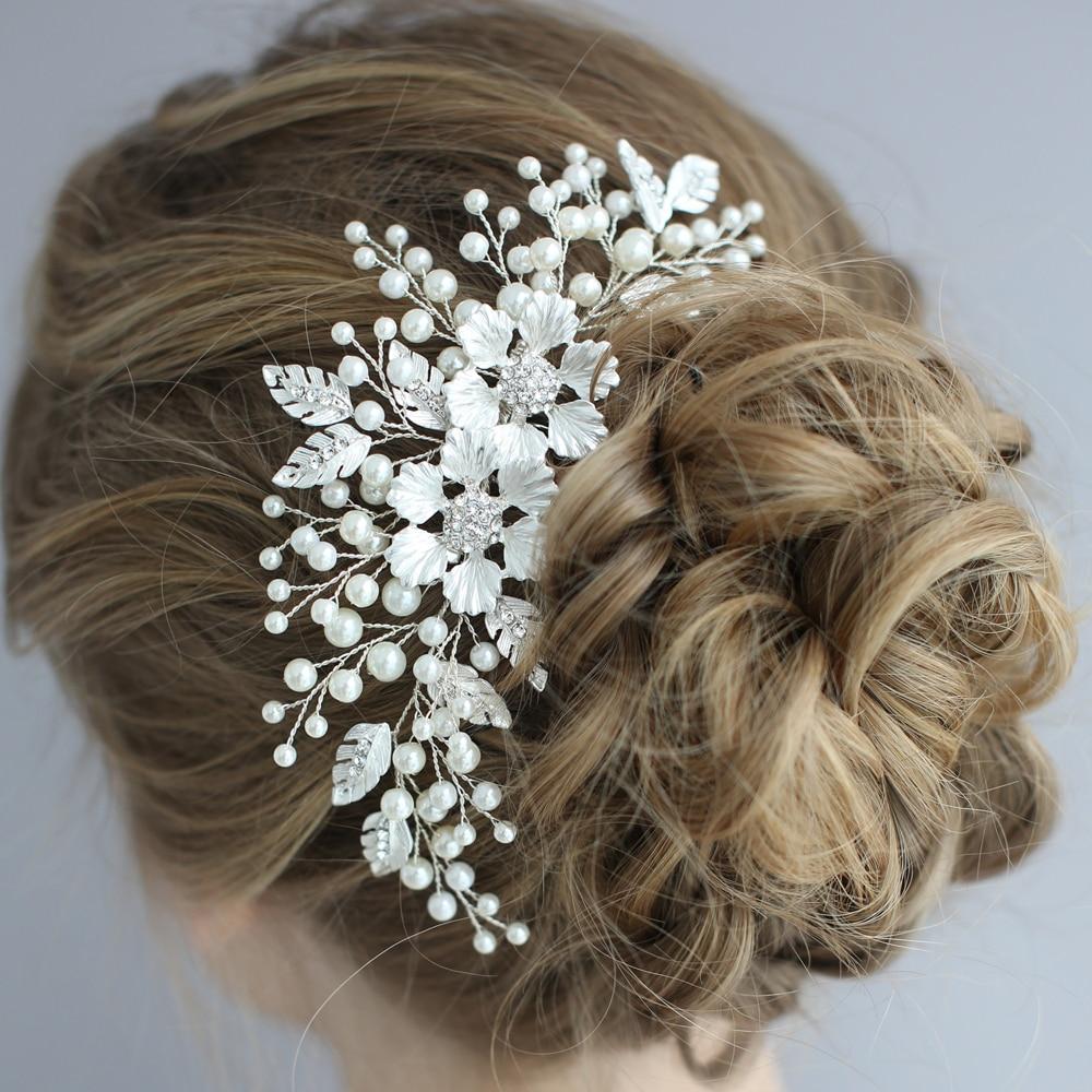Casamento de prata antigo pente cabelo artesanal flor nupcial headpiece pérolas moda feminina jóias de cabelo noivas lado tiara