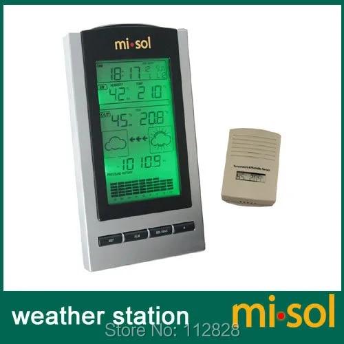 משלוח חינם 1 יחידה של אלחוטי תחנת מזג אוויר עם טמפרטורה חיצונית וחיישן לחות תצוגת LCD, ברומטר