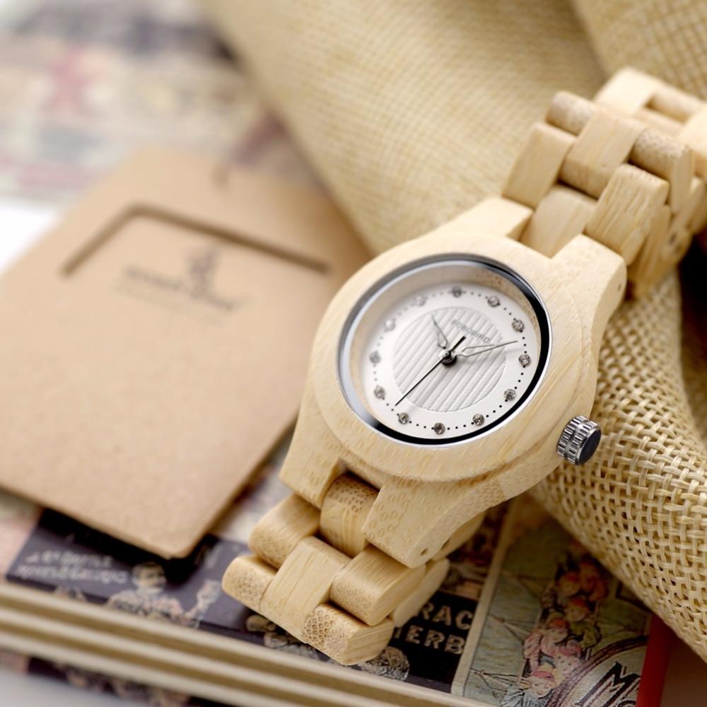 Bobo Бир натурального бамбука дамы Часы Лидирующий бренд Дизайн Часы CdO10 для Для женщин в деревянной коробке может лазер логотип на задняя кры...