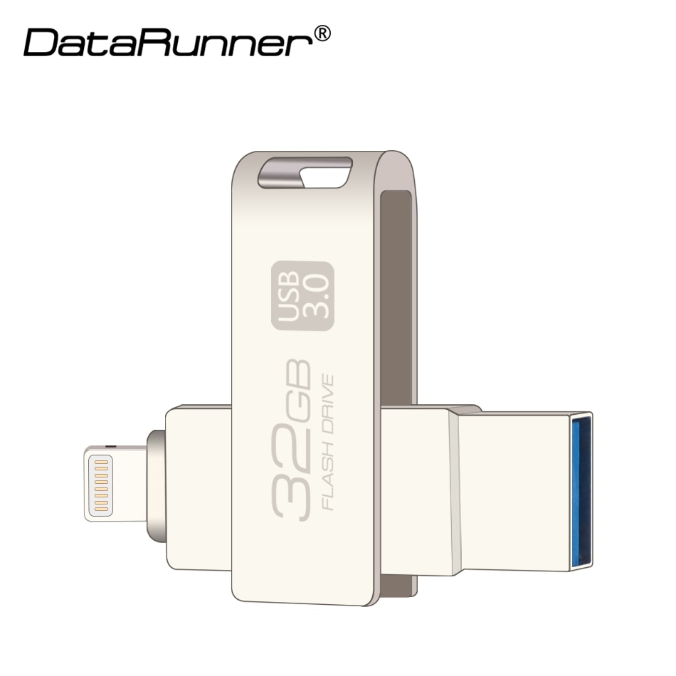 New DataRunner 2 in 1 OTG USB Flash Drive 32GB Flash Usb Sticks 3.0 Pen Drive 8GB 16GB 64GB 128GB Usb 3.0 Pendrive Flash Disk enlarge