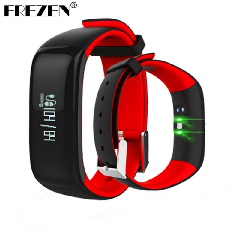 FREZEN P1 Smartband relojes presión pulsera Bluetooth Smart Monitor de ritmo cardíaco pulsera inteligente Fitness para Android IOS