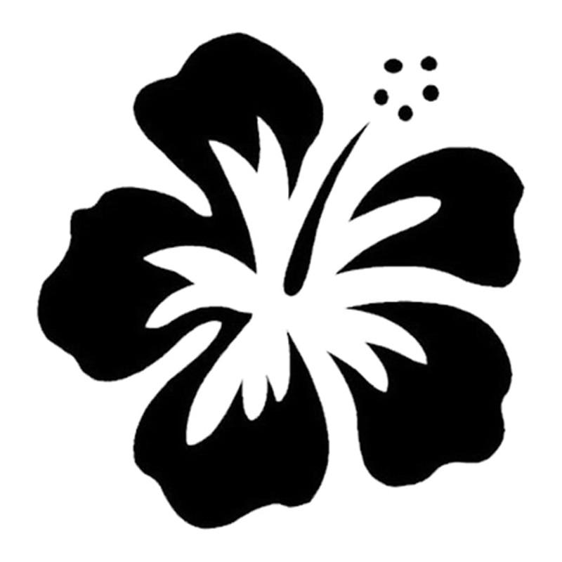 Pegatinas de vinilo de flor de hibisco Hawaiano de 13cm * 13cm, adhesivo decorativo para coche negro/plateado S3-4801
