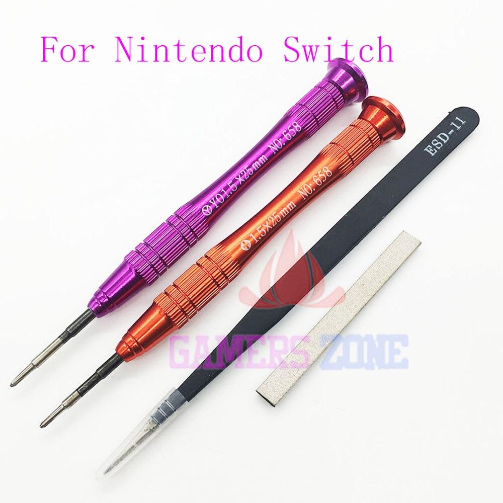 10 juegos para Nintendo Switch Cross Tri 1,5 MM Wing destornillador pinzas señal esponja para interruptor Joy-Con destornillador