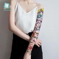 large arm sleeve tattoo waterproof temporary body tattoo stickers fake full flower glod fish tatoo designs for women