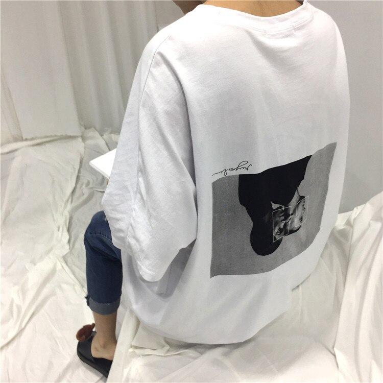 2017 verano Oversize carácter suelto impreso Back blanco Simple mujer Camisetas manga corta