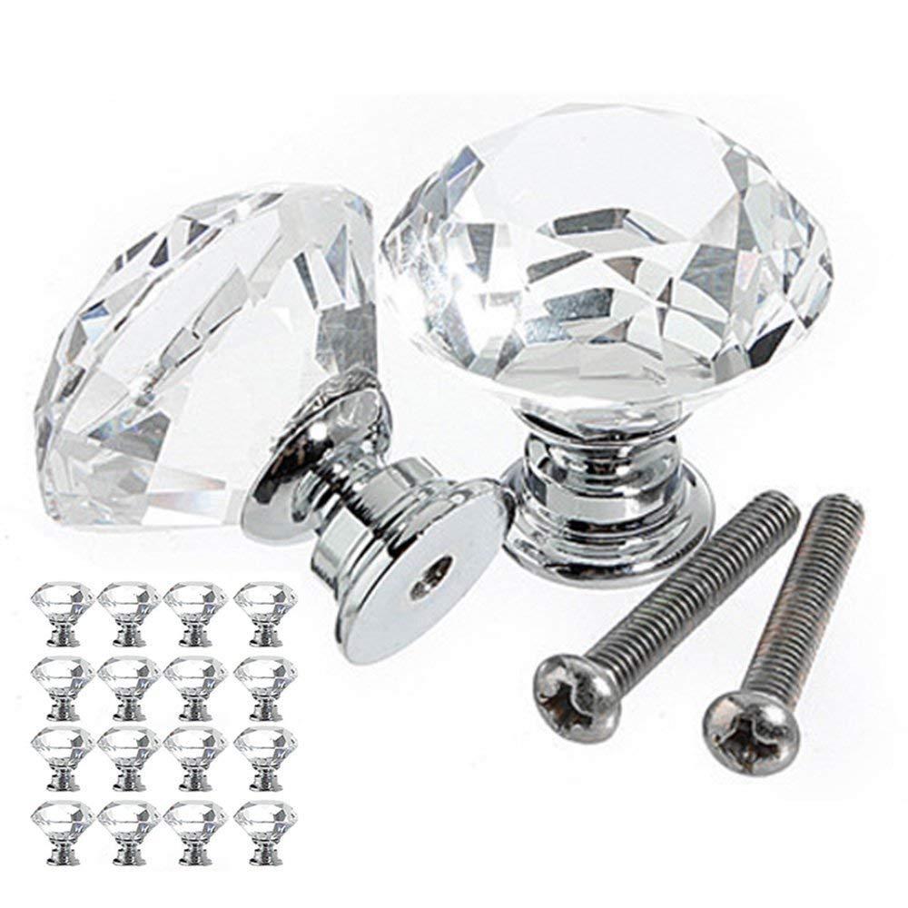 Новый стиль 16 шт. ручка ящика стеклянная ручка с кристаллами Алмазная Ручка диаметр 30 мм для шкафов шкафы мебель