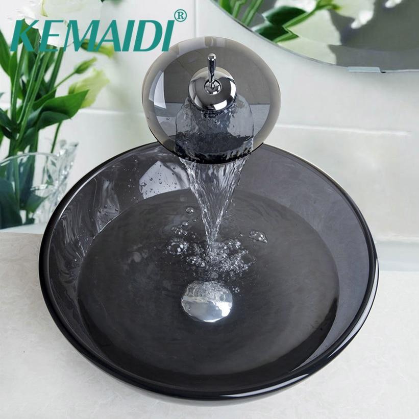 KEMAIDI Luxury Tempered Waterfall Glass Sink countertop washing basin art Hand Painting  Basin Sink Bathroom Sink Glass Faucet