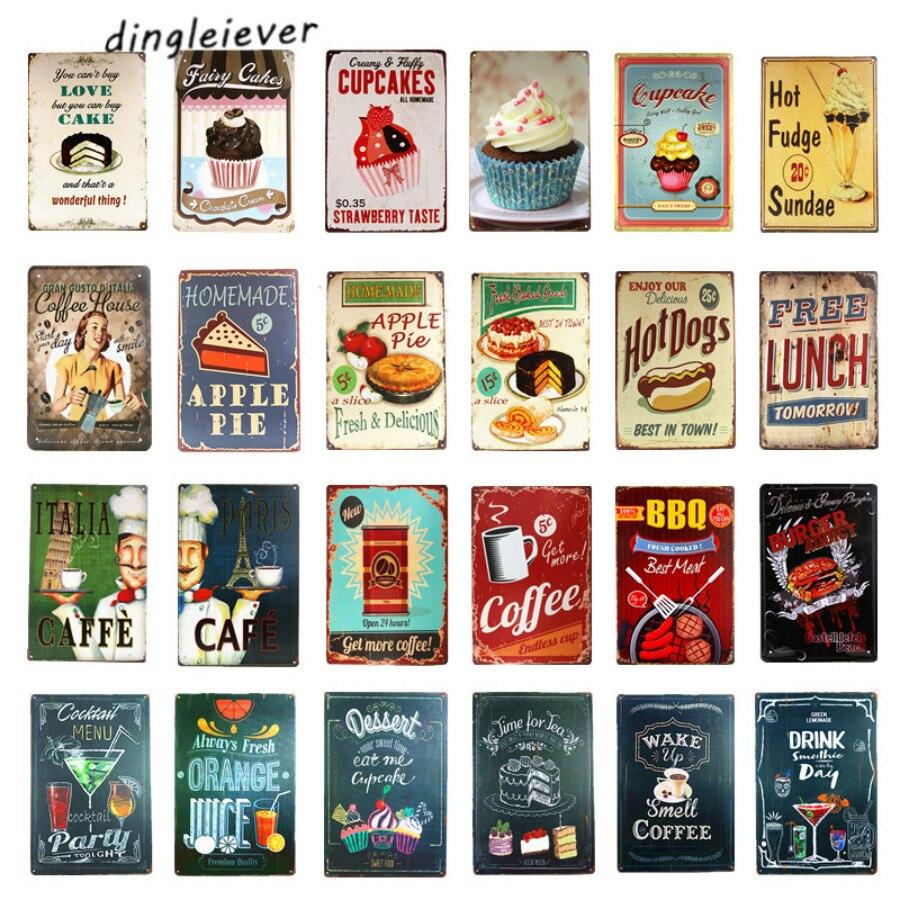 Letrero de Metal dl-coffee, bebida caliente, cocina, restaurante, decoración de pared de tienda de café arte de pared moderno