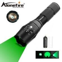AloneFire E17 Zoomable CREE Scalabile LED 300 Metri Lungo Raggio Luce Verde Torcia Elettrica Verde Luce di Caccia Tattico Torcia Elettrica