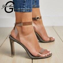 GENSHUO été talons hauts sandales chaussures à bout ouvert femmes sandales Sexy grande taille femmes chaussures Transparent clair talon bride à la cheville