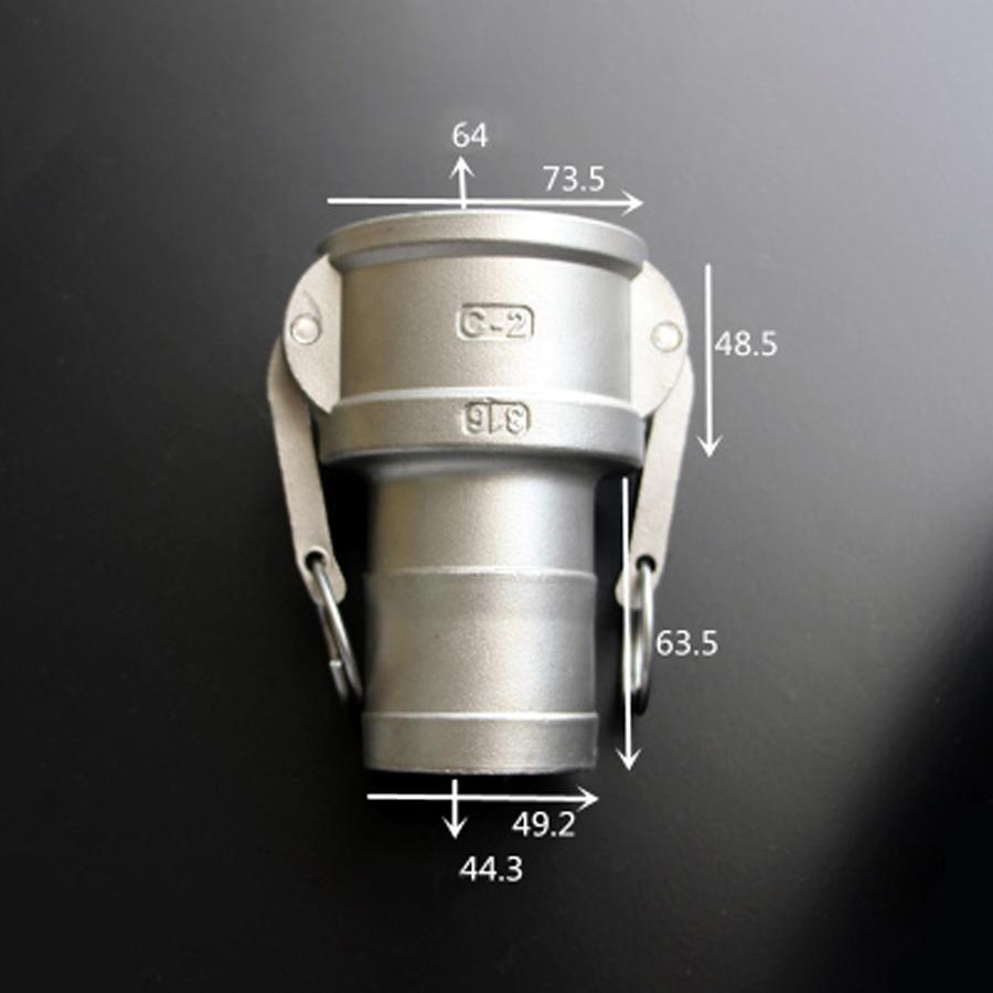 خرطوم خرطوم من النوع C مقاس 2 بوصة ، نوع C ، Camlock ، فك سريع ، 316 ، مجرى كاميرا ، غير ثابت ، للمضخات ، Homebrew