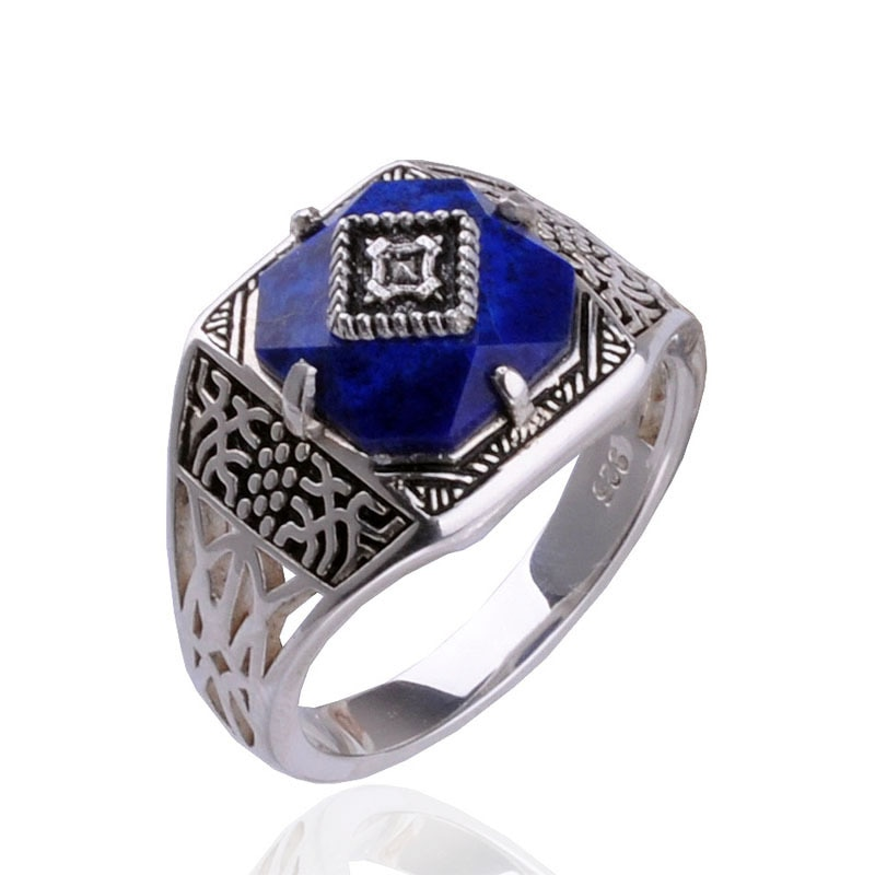 O vampiro diários caroline anel s925 esterlina anel puro sliver caroline anel jóias femininas lapis lazuli pedra