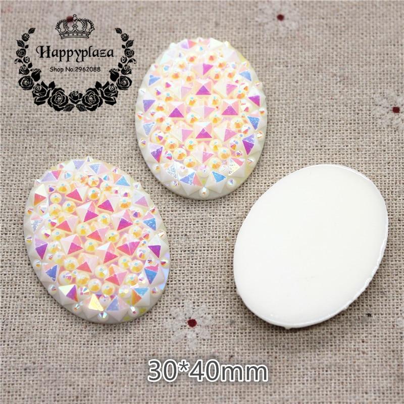10PCS 30*40mm Shiny AB White Resin Rhinestone Oval Flatback Cabochon Stone DIY Jewelry/Craft Decoration