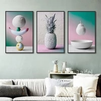 nordic poster minimalist fresh pear pineapple fruit canvas painting modern home decoration kitchen wall art pictures no frame