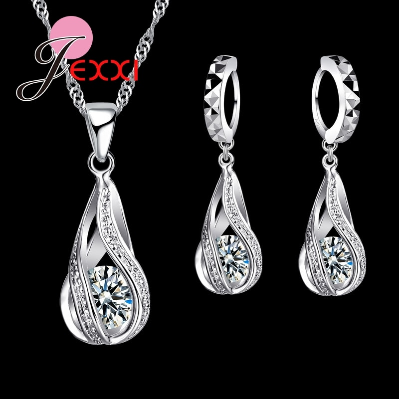 sa silverage 925 sterling silver vintage pendant chain necklaces water drop drop earrings jewelry sets for woman long earrings New Water Drop CZ Jewelry Sets 925 Sterling Silver Necklace&Earrings Wedding Jewelry For Women Wedding Party  Zircon Sets
