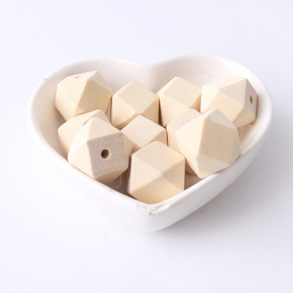 Cuentas de madera de arce grande geométrico 30mm 50 piezas facetadas figura Octagonal cubo decoración sin terminar accesorios de artesanía para manualidades CADENA DE mordedor