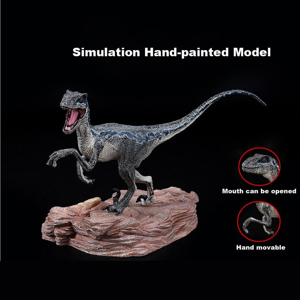 Figura de acción de dinosaurio de Velociraptor azul hiinsts con coleccionista de juguete modelo Animal Base 19APR1