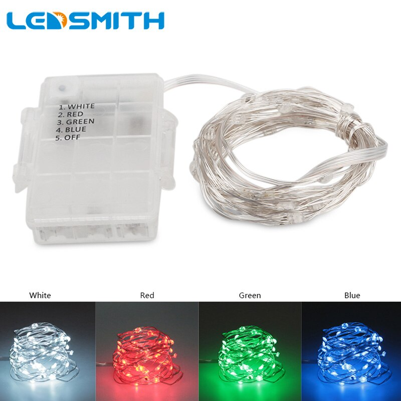 Tira de luces LED LEDSMITH, resistente al agua, alimentada por batería, 5 M, 50 ledes, alambre plateado, tira de luces decorativas para fiestas y Navidad