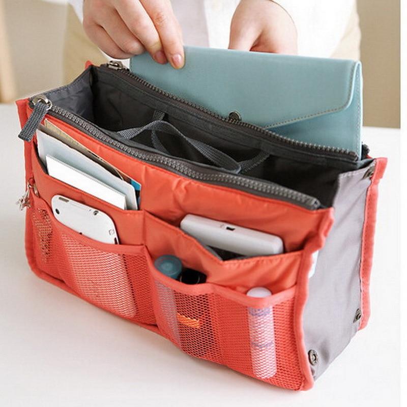 Fashion Travel Sponge Storage Bag Many Pockets Pouch Women Men's Canvas Folding Organizer Luggage Handbags Double Zipper Bag