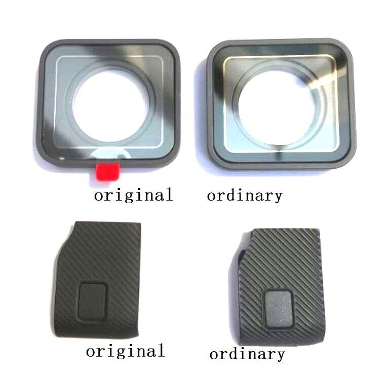 Acessórios originais para gopro hero 7 6 5 4 preto esportes câmera porta dianteira/placa frontal/filtro uv lente de vidro/tampa usb bateria capa