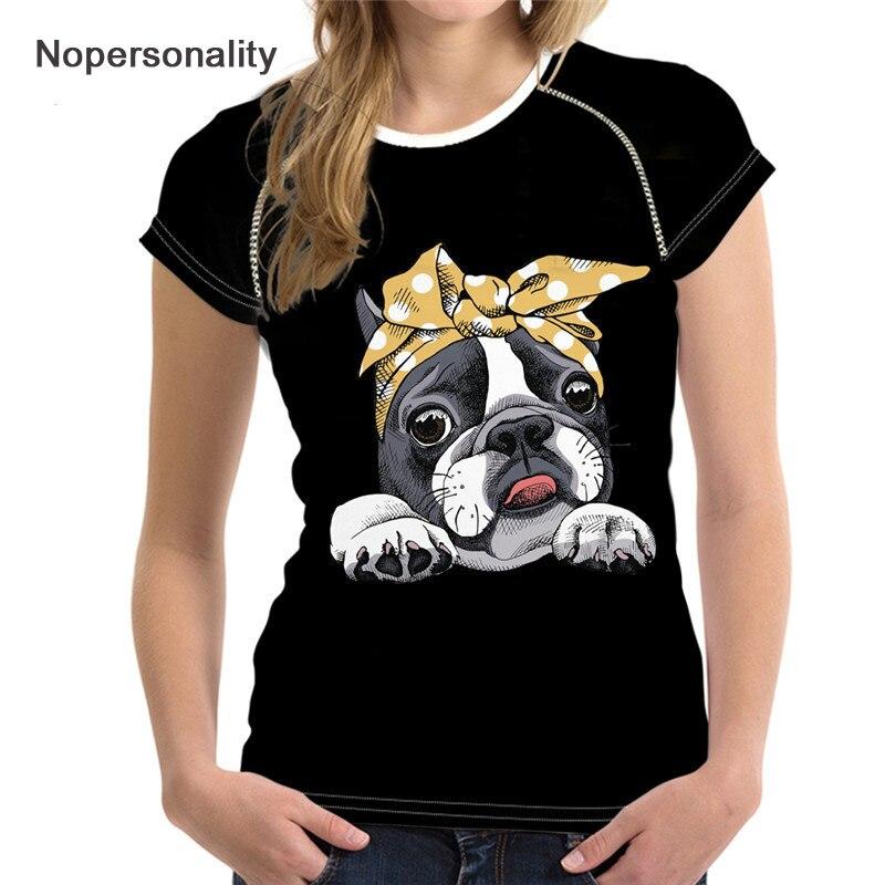 Nopersonality de Boston Terrier perro mujer Camisetas lindo negro mujer de verano de las señoras Tops Tee de las mujeres ocasionales T camisas