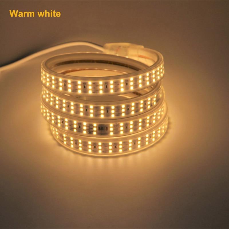 AC 220 V LED de luz de tira tres lámpara en fila 2835 led 276/m 0,5 m de corte de tubo de 1m 2m 3m 5m 10m 30m con la UE cable de alimentación