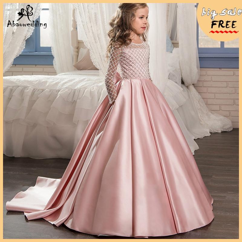Aibaowedding/Модные платья с цветами для девочек, платье для первого причастия с длинными рукавами и драпировкой, розовые Бальные платья из тюля д...