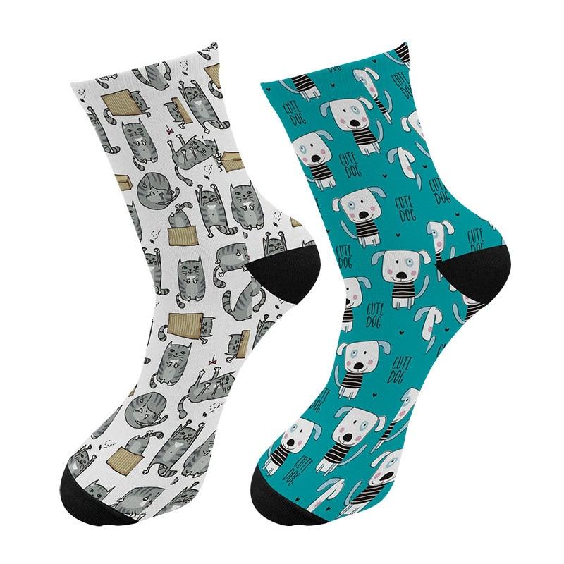 Nuevo 3d impreso Happy Cat Dag Crew calcetines hombres divertido perro hueso animales calcetines largos tubo largo vestido Calcetines para hombre regalo de Navidad