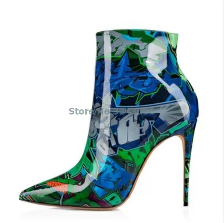 Impresión naranja azul de cuero de charol fino botas de tacón alto con cremallera lateral tacón de aguja botas de tobillo de moda Graffiti-art zapato de las mujeres