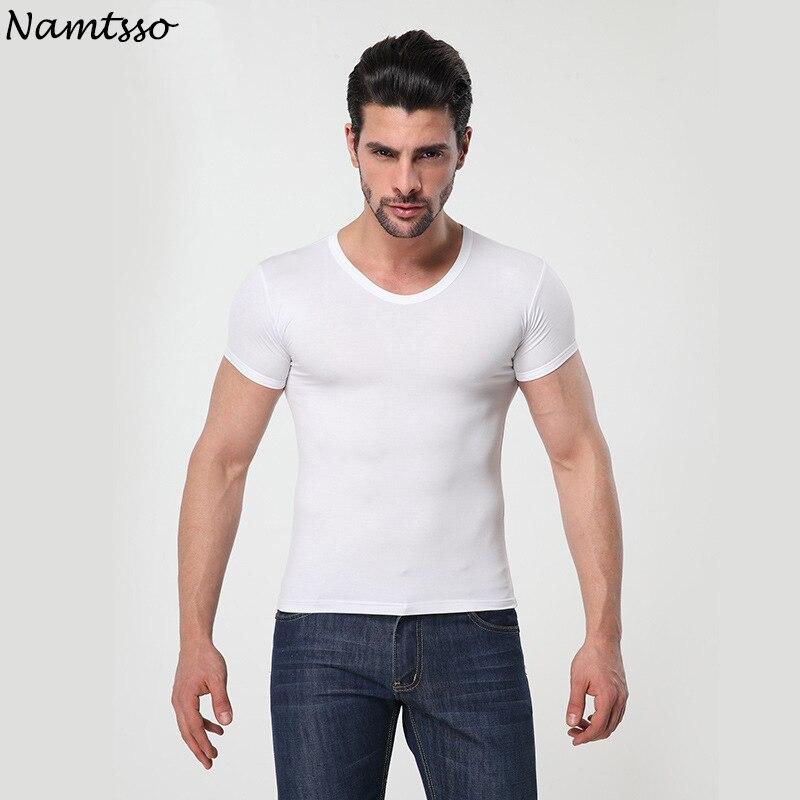 Ropa interior MODAL de color sólido para hombre, ropa interior ajustada de manga corta, Relax, transpirable, strench, ropa interior con cuello redondo