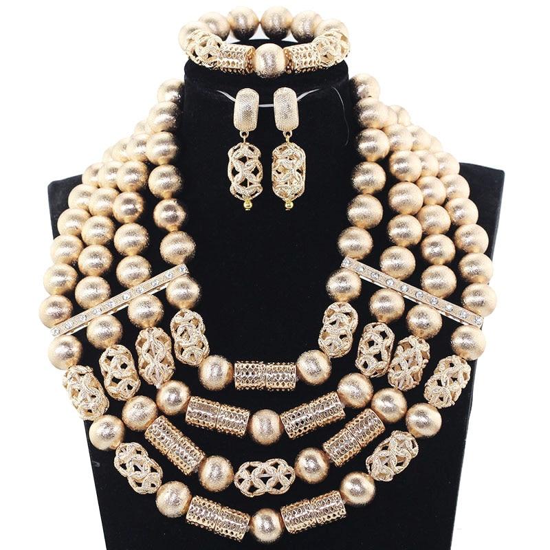 2017 Dubai Gold Wedding Jewelry Set African Beads Jewelry Set Chunky Necklace Ball Chain Earrings Beads Set Free Shipping JB067