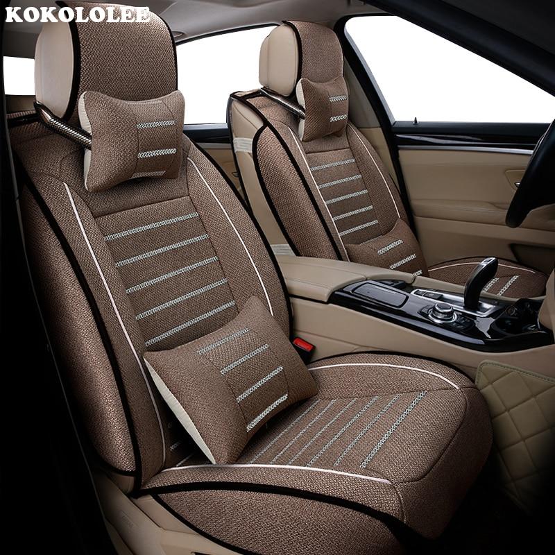 High quality flax car seat covers fit volkswagen vw passat b5 b6 polo golf tiguan 5 6 7 jetta touran touareg sticker styling