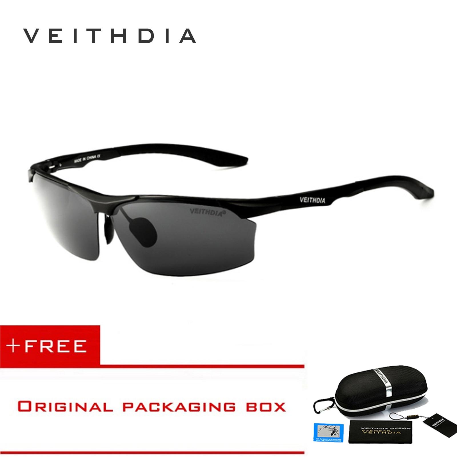 VEITHDIA Semi-rimless Aluminum Magnesium Brand Polarizerd Sunglasses Men Sun Glass Driving Glasses Mirror Eyewear for Men shades