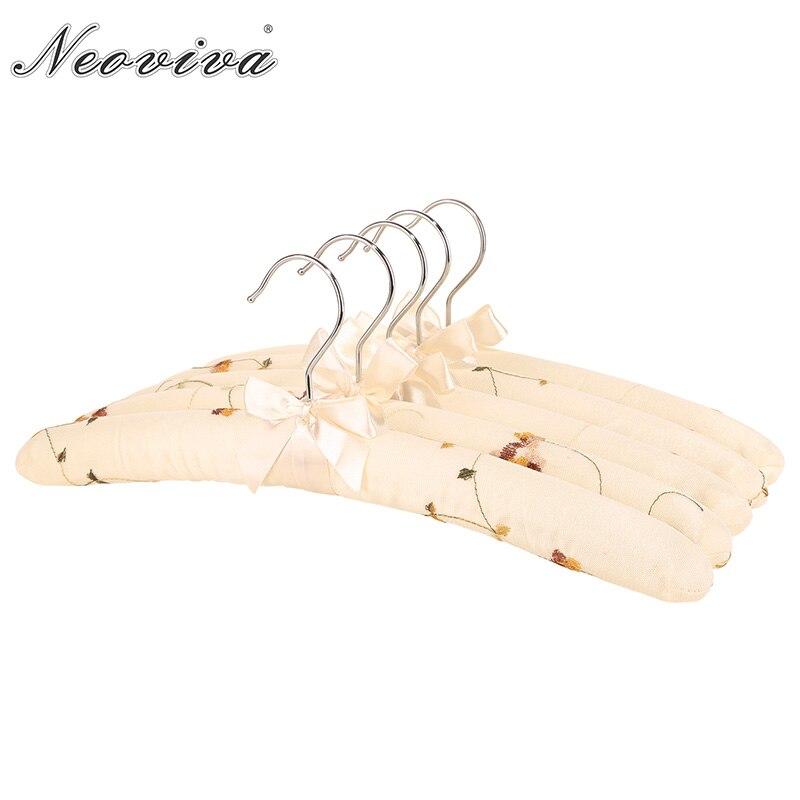 Neoviva ヴィンテージコーティングされたハンガースポンジパディングと女性のための、 5 のパック、刺繍フレンチバニラベージュ Rangement Vetement Nordi