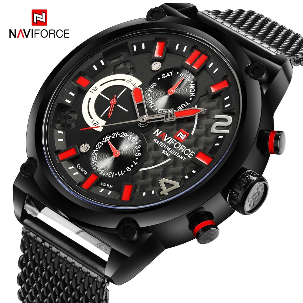 NAVIFORCE Military Analog Watch Men Top Brand Luxury Mens Waterproof Sport Watches Male Steel Mesh Belt Quartz Wristwatch  Clock