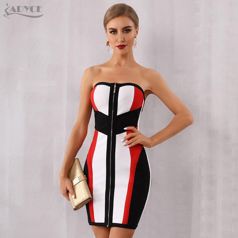 Adyce, novedad de 2020, vestido ceñido al cuerpo de verano para mujer, Vestidos sexis sin tirantes, vestido Midi para Club, vestido de pasarela de celebridad, Vestidos de fiesta de noche