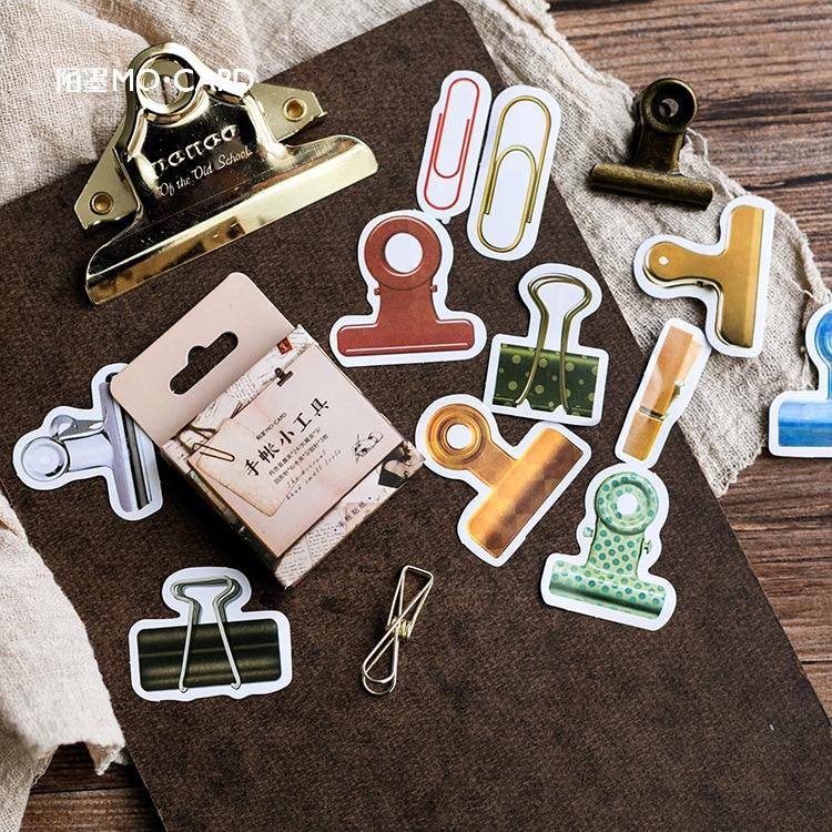 2packs/lot Vintage Handbook Gadget Stickers Decoration DIY Office Desk Decoration Clip Sticker Paper Sticker Stationery Retro