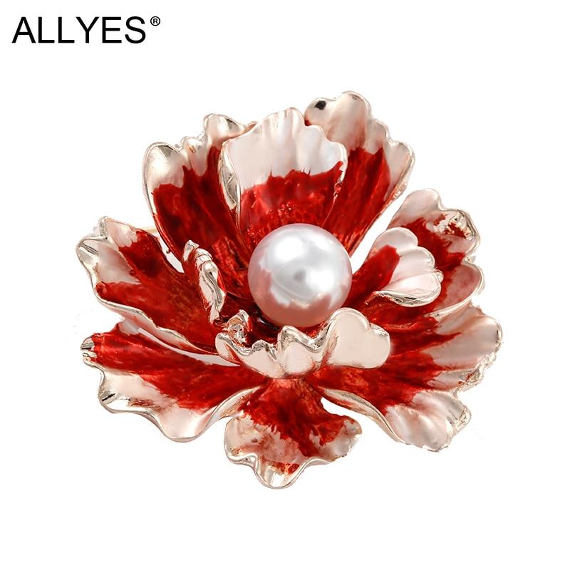ALLYES, broches de flores de peonía de perlas pintadas a mano para mujeres, niñas, ropa, bufanda, Pin esmaltado, broche de fiesta, regalo de joyería femenina