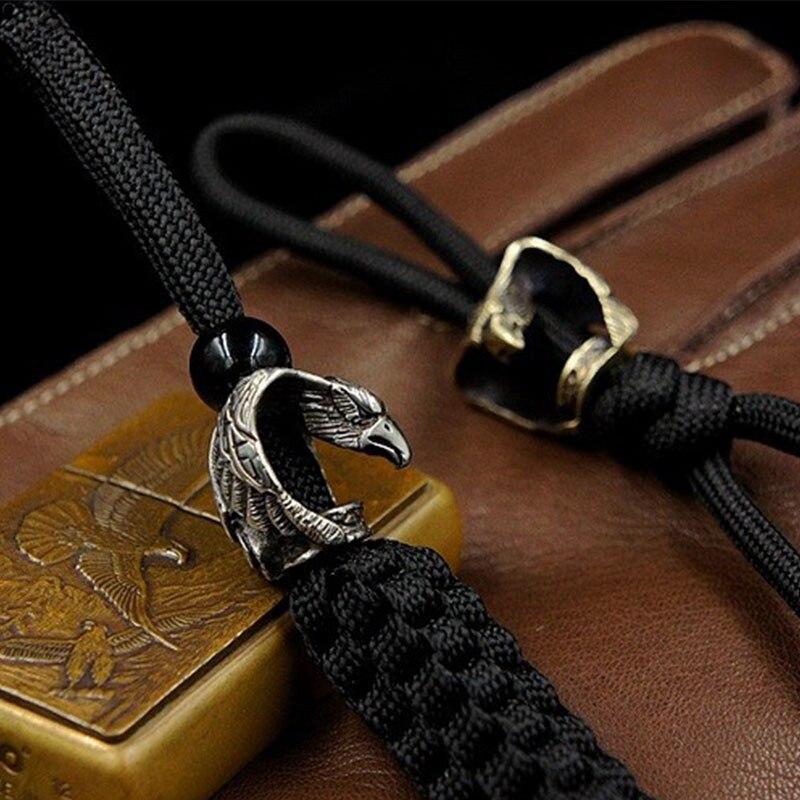 1 unidad de colgante con diseño de cuchillo de bronce y águila, paraguas hecho a mano, cuerda de caída EDC, linterna, llavero de caída, abalorios de Paracord, accesorios, herramientas