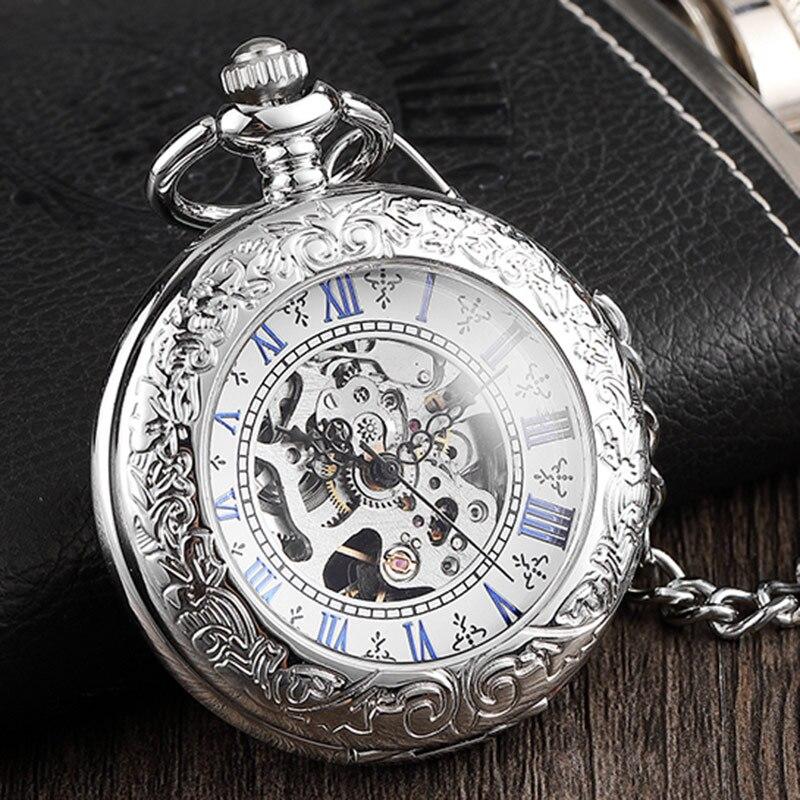 Elegante Reloj de bolsillo mecánico para hombre, Retro, para mujer, funda con tapa plateada, reloj con cadena Fob, reloj Steampunk con esqueleto hueco para hombre